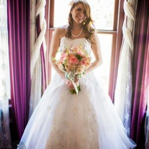 David's Bridal embroidered organza wedding gown